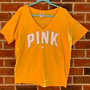 PINK Victoria's Secret Yellow v-neck tee SZ Large